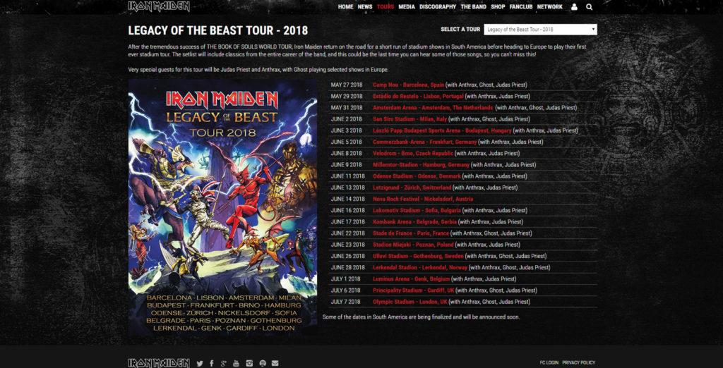 Iron Maiden Tour 2018
